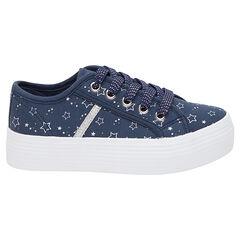 Υφασμάτινα χαμηλά αθλητικά παπούτσια με αστεράκια σε όλη την επιφάνεια