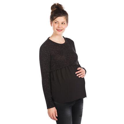 Pull de grossesse bi-matière