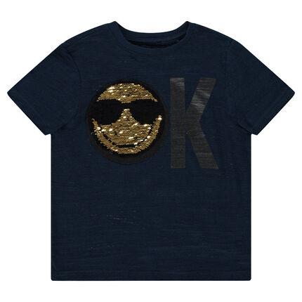 Κοντομάνικη ζέρσεϊ μπλούζα με μοτίβο ©Smiley από «μαγικές» πούλιες