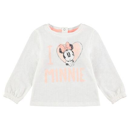Μακρυμάνικη μπλούζα με τη Minnie και τυπωμένες καρδούλες ©Disney
