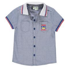 Κοντομάνικο πουκάμισο από ύφασμα chambray με στάμπα τον Μίκυ της Disney