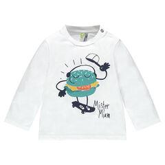 Μακρυμάνικη μπλούζα από ζέρσεϊ με τυπωμένο χάμπουργκερ
