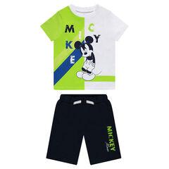 Σύνολο με κοντομάνικη μπλούζα με στάμπα Mickey και βερμούδα