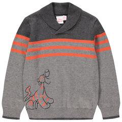 Πλεκτό πουλόβερ με στάμπα τον Τίγρη με ρίγες που κάνουν αντίθεση