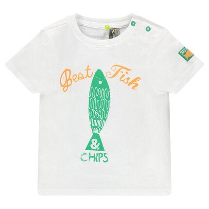 Κοντομάνικη μπλούζα με τύπωμα ψάρι και used όψη