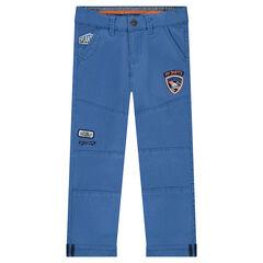 Μονόχρωμο μπλε παντελόνι με σήματα