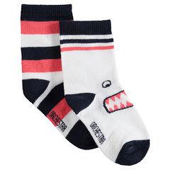 Σετ 2 ζευγάρια ασορτί κάλτσες με ζακάρ ρίγες και τερατάκι