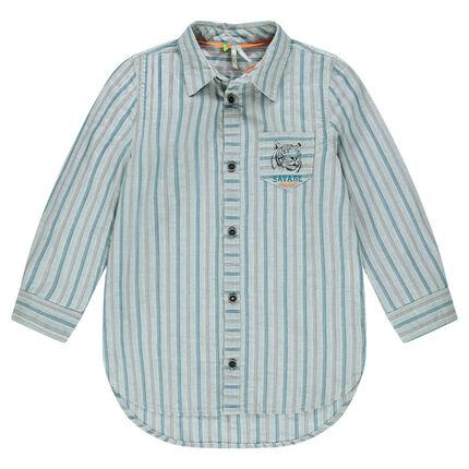 Μακρυμάνικο ριγέ πουκάμισο με τύπωμα τίγρη