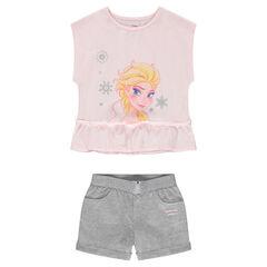 Σύνολο μπλούζα σε τετράγωνη γραμμή με στάμπα Frozen της ©Disney και ζέρσεϊ σορτς