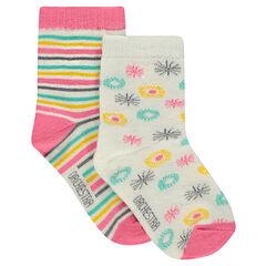 Σετ 2 ζευγάρια κάλτσες, ένα εμπριμέ / ένα ριγέ