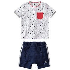 Σύνολο μπλούζα με μοτίβο Μίκυ της Disney και σορτς από φανέλα με λωρίδες σε αντίθεση