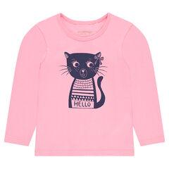 Μακρυμάνικη μπλούζα από ζέρσεϊ με τυπωμένη γάτα