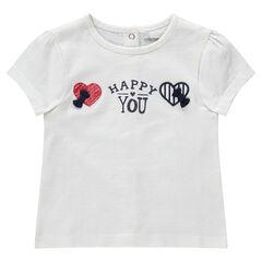 Κοντομάνικη ζέρσεϊ μπλούζα με κεντημένες καρδιές και φιόγκους