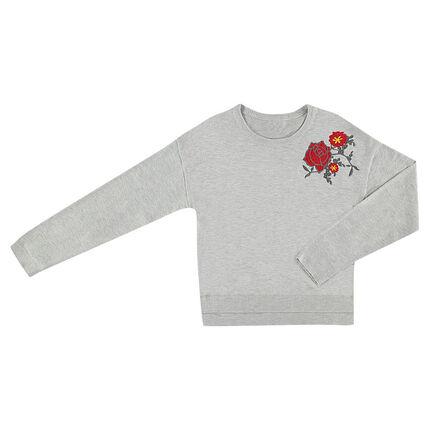 Παιδικά - Πλεκτό πουλόβερ σε άνετη γραμμή με διακοσμητικό μοτίβο