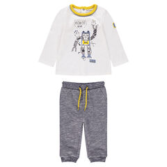 Σύνολο μπλούζα με στάμπα ρομπότ και παντελόνι από μελανζέ φανέλα