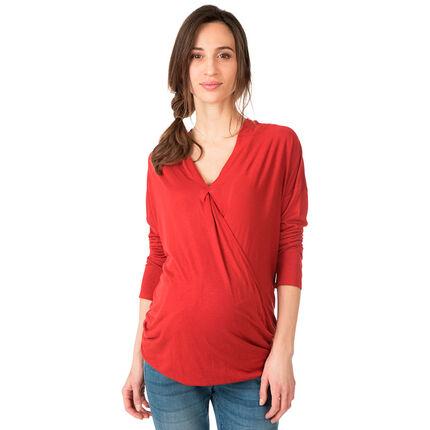 Μακρυμάνικη μπλούζα εγκυμοσύνης με V λαιμόκοψη