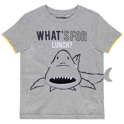 Κοντομάνικη μπλούζα από ζέρσεϊ με στάμπα καρχαρία