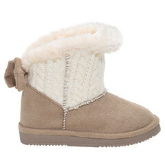 Χαμηλές μπότες με πλεκτή φάσα στο άνοιγμα, γούνινη επένδυση και φιόγκο πίσω