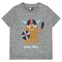 Κοντομάνικη μπλούζα από ζέρσεϊ slub με τυπωμένο βίκινγκ