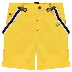 Κίτρινη βερμούδα με ρυθμιζόμενες τιράντες και κεντήματα ©Disney Mickey!