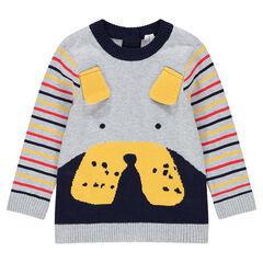Πλεκτό πουλόβερ με ανάγλυφα αυτάκια και ρίγες σε αντίθεση στα μανίκια