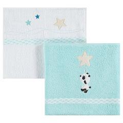Σετ με 2 πετσέτες, σε 2 μεγέθη, με κεντητά αστεράκια και ένα κεντητό πάντα