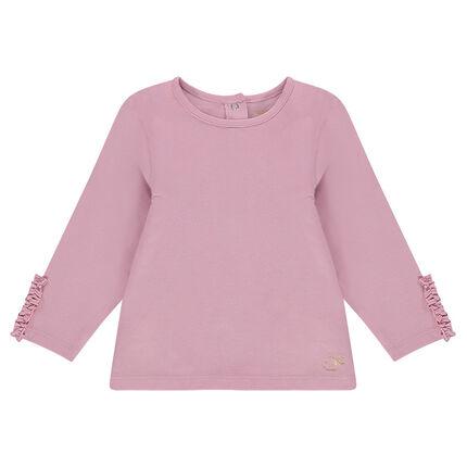 Μονόχρωμη μακρυμάνικη μπλούζα με φρουφρού στις μανσέτες