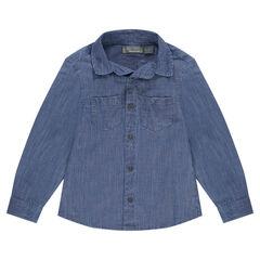 Μακρυμάνικο βαμβακερό πουκάμισο με τσέπες