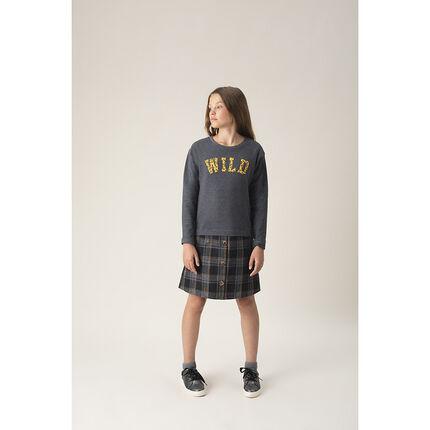Παιδικά - Μακρυμάνικο φόρεμα πλεκτό καρό 2 σε 1 με μοτίβο λεοπάρ