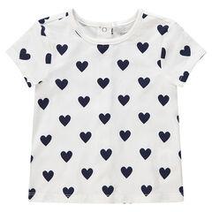 Κοντομάνικη βαμβακερή μπλούζα με τυπωμένες καρδιές