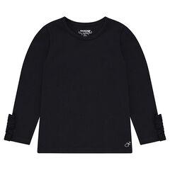 Μακρυμάνικη μπλούζα ζέρσεϊ με βολάν στις μανσέτες