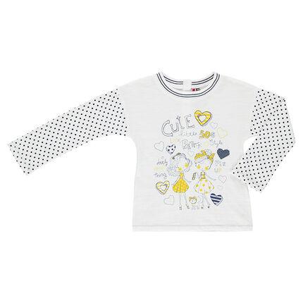 Tee-shirt fantaisie manches longues aspect lin