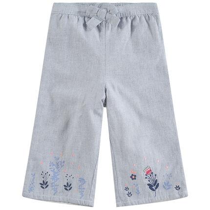 Φαρδύ παντελόνι με φλοράλ κεντημένα μοτίβα