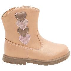 Χαμηλές μπότες από συνθετικό δέρμα με απλικέ καρδούλες, από 20 έως 23