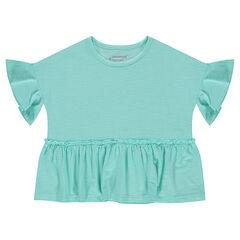 Κοντομάνικη μπλούζα από ζέρσεϊ slub σε τετράγωνη γραμμή με βολάν