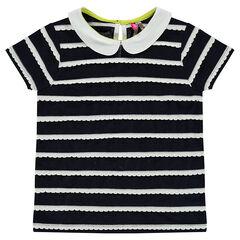 Κοντομάνικη μπλούζα με διακοσμητικές ρίγες και στρογγυλό γιακά