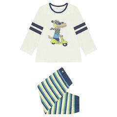 Ζέρσεϊ πιτζάμα με στάμπα δεινόσαυρο και ριγέ παντελόνι