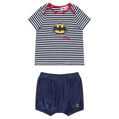 Κοντομάνικη ριγέ μπλούζα και φουφούλα από σαμπρέ ύφασμα JUSTICE LEAGUE - CHIBI με τύπωμα Batman