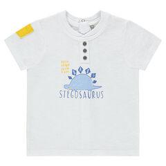 Κοντομάνικη μπλούζα με στάμπα δεινόσαυρο και τσέπη σε χρώμα που κάνει αντίθεση