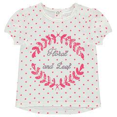 Κοντομάνικη μπλούζα πουά σε όλη την επιφάνεια και τυπωμένο μοτίβο μπροστά