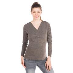 Tee-shirt manches longues de grossesse à micro-rayures et lurex cuivré