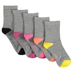 Σετ με 5 ζευγάρια μονόχρωμες κάλτσες με φτέρνα και μύτη σε αντίθεση