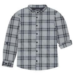 Μακρυμάνικο καρό πουκάμισο με γιακά μάο