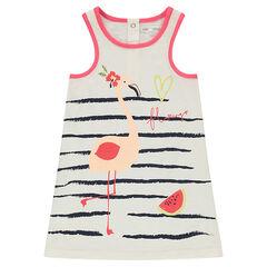 Αμάνικο φόρεμα από ζέρσεϊ slub ύφασμα με ρίγες και τυπωμένο ροζ φλαμίνγκο