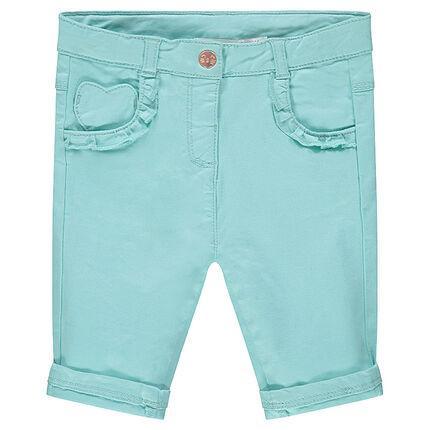 Βαμβακερό μπλε παντελόνι με τσέπες με βολάν