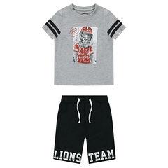 Σύνολο με μπλούζα με στάμπα λιοντάρι και φανελένια βερμούδα με στάμπα