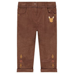 Βελουτέ slim παντελόνι με κεντημένο ελαφάκι και σιρίτι από δαντέλα