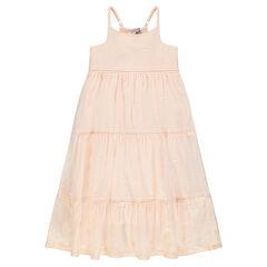 Μακρύ φόρεμα με λεπτές ρυθμιζόμενενς τιράντες και κεντήματα