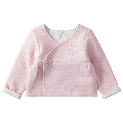 Ροζ ζακέτα με διάσπαρτα μικρά σχέδια και κουνελάκι σε εμπριμέ τουτού