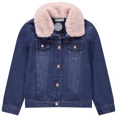 Παιδικά - Τζιν μπουφάν με used όψη και αφαιρούμενη συνθετική γούνα